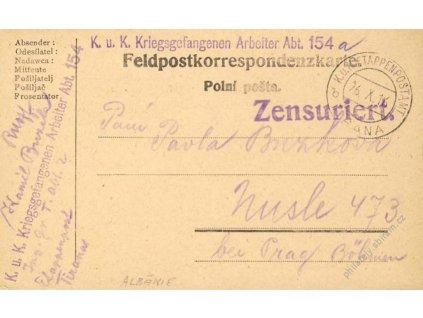 Tirana b, lístek PP zasl. v roce 1916 do Prahy