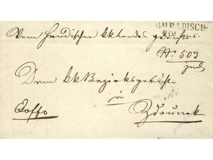 U:Hradisch, skládaný dopis z roku 1850