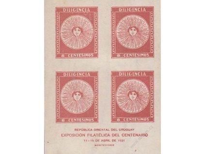 Uruguay, 1931, 8C Výstavní aršík, * po nálepce, lehké přilepení