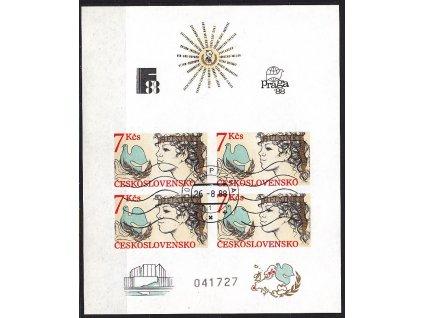 1985, 7Kčs aršík Helsinská konference, nezoubkovaný, číslovaný, strojové razítko, Nr.A2704B