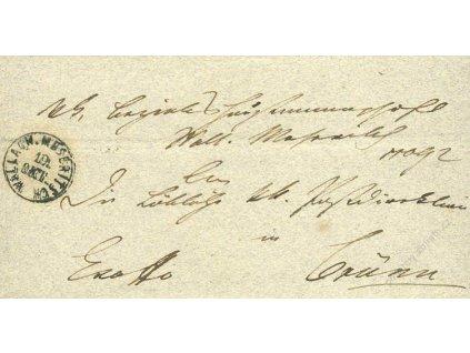 Wallach. Meseritsch, skládaný dopis z roku 1851