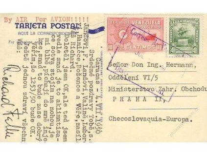 Venezuela, 1950, DR Caracas, let. pohlednice