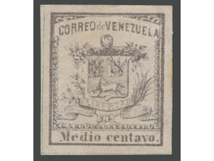 Venezuela, 1862, 1/2C Znak, * po nálepce, dv, skvrnka
