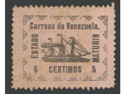 Venezuela, Guyana, 1903, 5C Lodička, MiNr.19I, * po nálepce