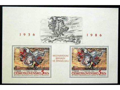 1986, 5Kčs aršík Interbrigády, Nr.A2763 **
