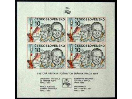 1987, 10Kčs nezoubkovaný aršík Interkosmos, Nr.A2817A, **