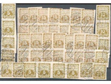 Podkarpatská Rus, 1920, 44 kusů  známek a pásek