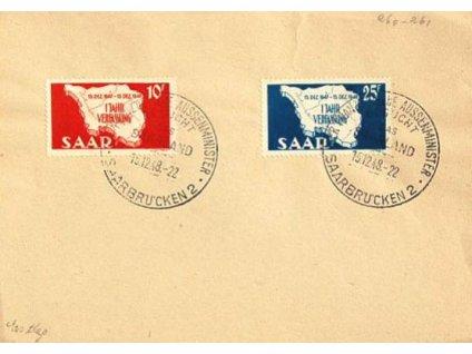 Saarland, 1948, 10-25Fr, razítko FDC