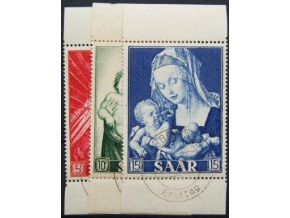 Saarland, 1954, 5-15Fr série Obrazy, FDC 14.8.54, MiNr.351-53