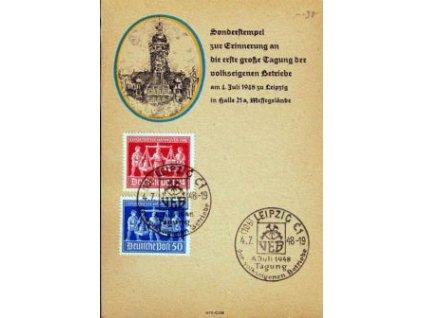 Sovětská zóna, 1948, pamětní lístek s pamětním razítkem, pohlednicový formát