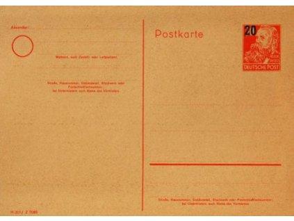 Sovětská zóna, 1952, dopisnice 20/30Pf MiNr.P42, neprošlá