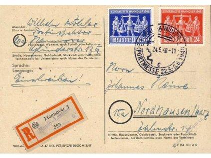Sovětská zóna, 1948, DR Hannover, R-lístek
