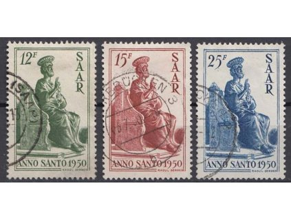 Saar, 1950, 12-25Fr série, MiNr.293-95, razítkované