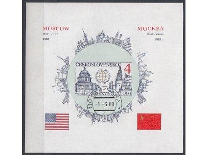 1988, aršík 4Kčs Moskva, nezoubk., denní razítko