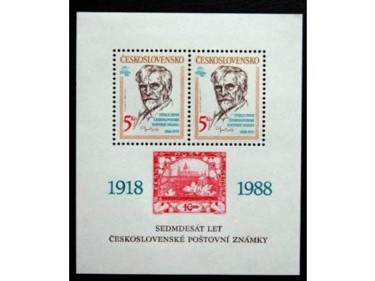1988, 5Kčs aršík 70.let čs známky, Nr.A2859, **