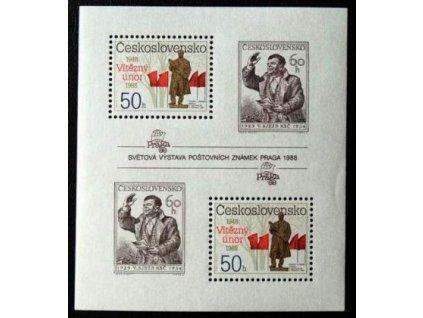 1988, 50-60h aršík Výročí Února, Nr.A2864-5A, **