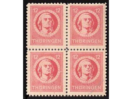 Thüringen, 1945, 12Pf Schiller, 4blok, DV, **
