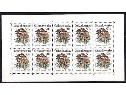 1989, 50h Houby, 10blok s vynechaným perf. otvorem v pravém okraji, Nr.PL2909, **, vzácné