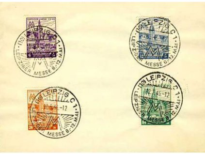 West-Saschen, 1945, pamětní list vyfr. sérií zn. 6-84Pf, razítko FDC Leipzig 12.5.1945