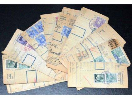 1945, 20 ks útržků průvodek s provizorními razítky