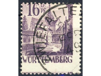 Württemberg, 1948, 16DPf Kostel, MiNr.20, posun, razítkované