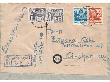 Württemberg, 1948, DR Tullingen, R-dopis zasl. do Kirchen