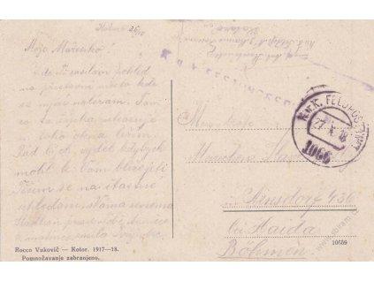 No.1066, pohlednice Cattaro zasl. v roce 1918 do Čech