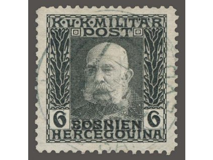 Serbien, 1914, 6H Franc Josef s přetiskem, MiNr.5, razítko