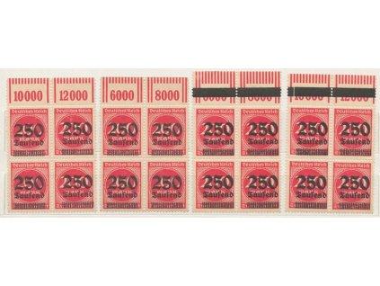 1923, 250 Tsd/200M číslice, kraj. 4bloků, přetisky, **/*