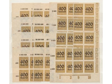 1923, 400 Tsd/15Pf - 400 Tsd/40Pf série, roh. miniatura, **