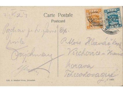 Palestina, 1924, DR Jerusalem, pohlednice, zasl. do ČSR