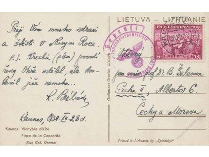 Lietuva, 1939, DR Kaunas, pohlednice zasl. do Protektorátu