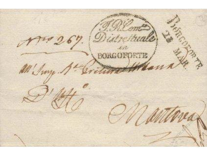 Borgoforte, skládaný dopis zasl. v roce 1847 do Mantovi