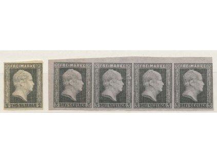Prusko, 1850, 2 a 3Sgr Wilhelm, novotisky, (*)