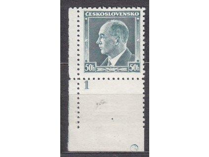 1937, 50h Beneš, roh. kus s DČ 1 a kroužkem na okraji, Nr.314, **/*