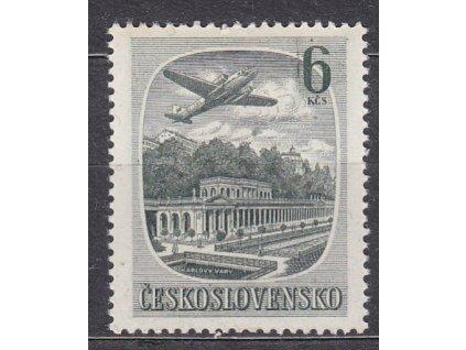 """6Kčs Letecké, VV - čárka u hodnoty """"6"""", Nr.L33, **, hezká vada"""