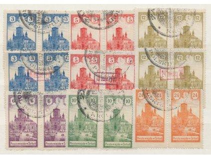 1918, Žarky, 3-24H Kostel, 3 série, MiNr.1-3,4-6,7-9, razítkované