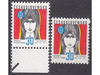 1975, 30h hlava ženy, papír bp a oz, bp krajový, Nr.2126xb,xa, **
