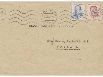 1957, dopis vyfr. zn. 30h Zápotocký a 3Kčs Gottwald