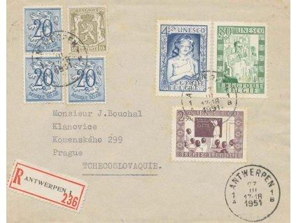 1951, R-dopis vyfrankovaný pestrou frankaturou známek