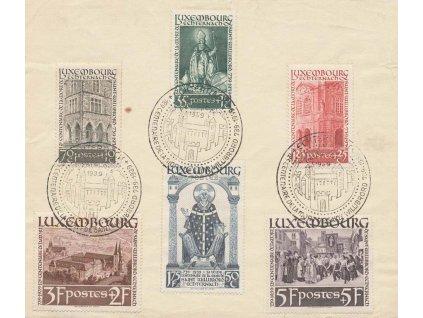 1938, pamětní list vyfrankovaný sérií známek 35C-5Fr sv.Villibrord