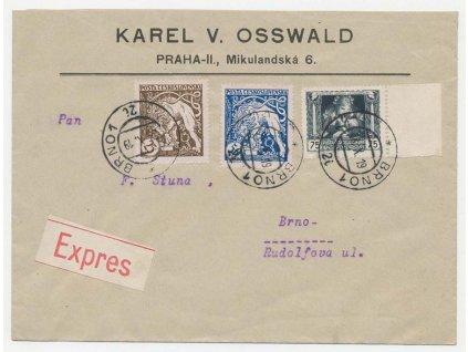 Ex-dopis vyfr. zn. 25+50+75h Legionářské, DR Brno 28.10.1919