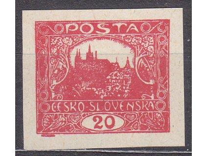 20h červená, nezoubkovaná, Švandův padělek z I.republiky, Nr.9, **