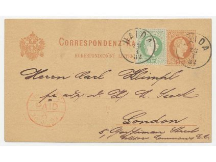 1882, dopisnice 2Kr Franc Josef dofr. zn. 3Kr Franc Josef