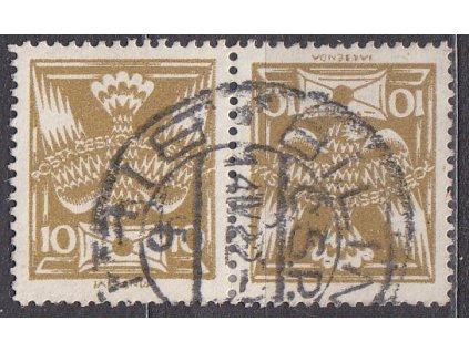 10h olivové, úzká protichůdná dvojice, Nr.146TBa, razítkované, ilustrační foto