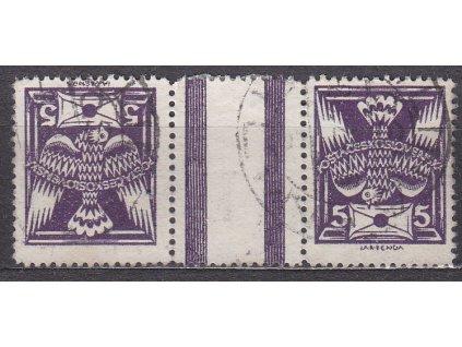 5h fialová, široká protichůdná dvojice, Nr.144TBb, razítkovaná, ilustrační foto