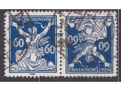 60h modrá, úzká protichůdná dvojice, Nr.157TBa, razítkované, ilustrační foto