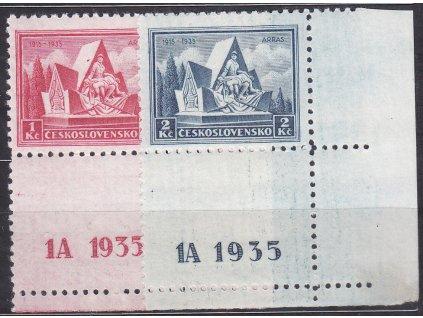 1-2Kč Arras, dolní kraj. kupony s DČ 1A, Nr.289-90, **