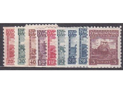 1926, 20h-3Kč série Hrady, Nr.216-24, * po nálepce, ilustrační foto