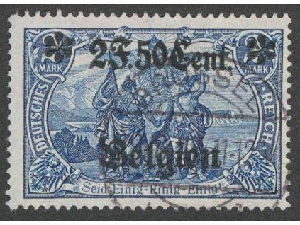 Belgien, 1914, 2F50C modrá, MiNr.9, razítkované